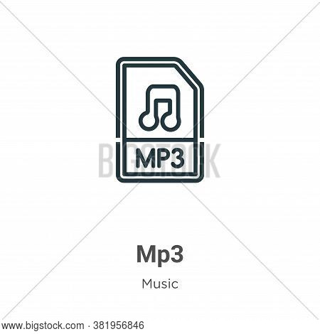 Mp3 icon isolated on white background from music collection. Mp3 icon trendy and modern Mp3 symbol f