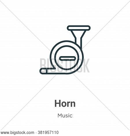 Horn icon isolated on white background from music collection. Horn icon trendy and modern Horn symbo