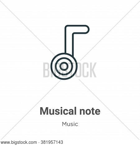 Musical note icon isolated on white background from music collection. Musical note icon trendy and m