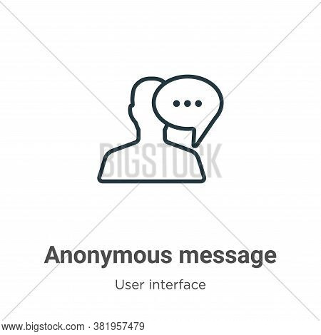 Anonymous message icon isolated on white background from user interface collection. Anonymous messag