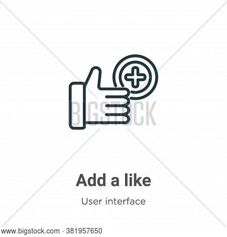 Add a like icon isolated on white background from user interface collection. Add a like icon trendy