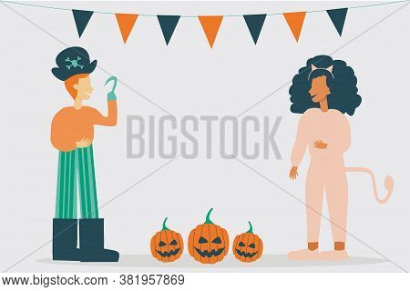 Illustration Of Kid Characters Wearing Halloween Costumes