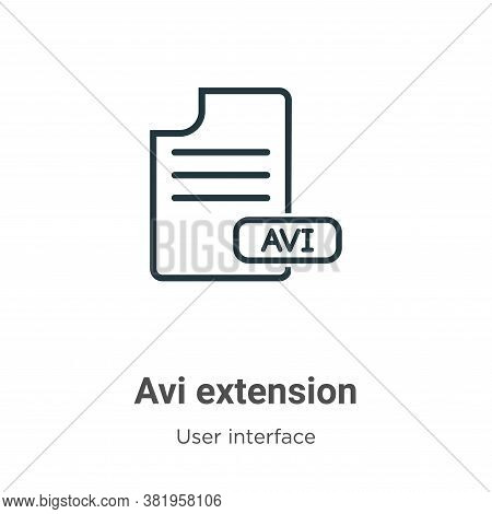 Avi extension icon isolated on white background from user interface collection. Avi extension icon t