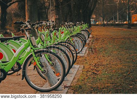 A Row Of Green Bikes In The Park. Rental Of Bicycles. Close Up Green Bicycle In Bicycle Parking