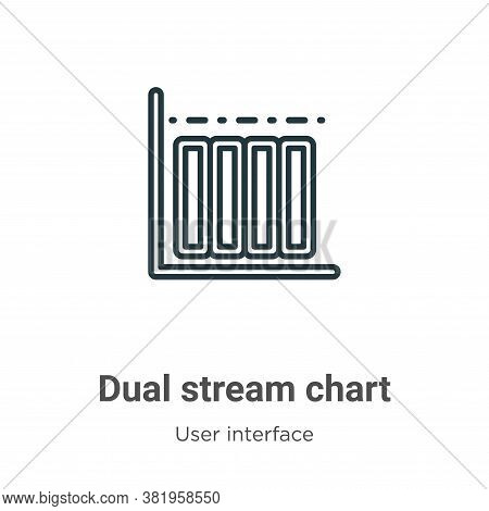 Dual stream chart icon isolated on white background from user interface collection. Dual stream char