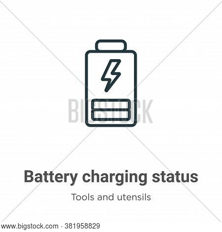 Battery charging status icon isolated on white background from tools and utensils collection. Batter