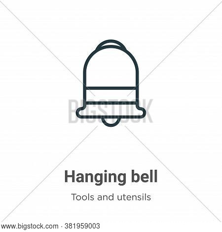 Hanging bell icon isolated on white background from tools and utensils collection. Hanging bell icon