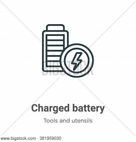 Charged battery icon isolated on white background from tools and utensils collection. Charged batter
