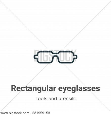 Rectangular eyeglasses icon isolated on white background from tools and utensils collection. Rectang