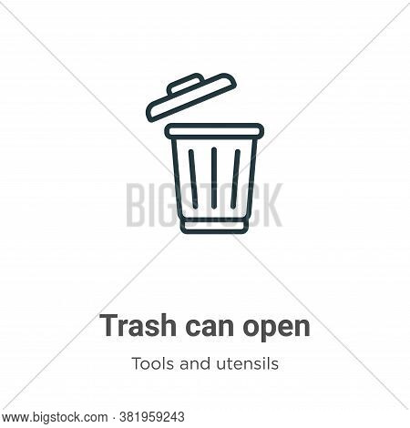 Trash can open icon isolated on white background from tools and utensils collection. Trash can open
