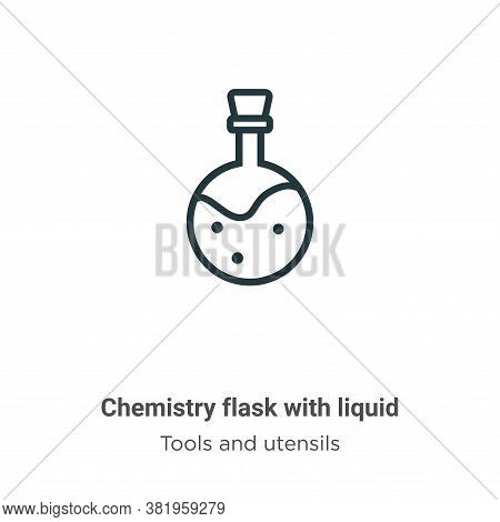 Chemistry flask with liquid icon isolated on white background from tools and utensils collection. Ch