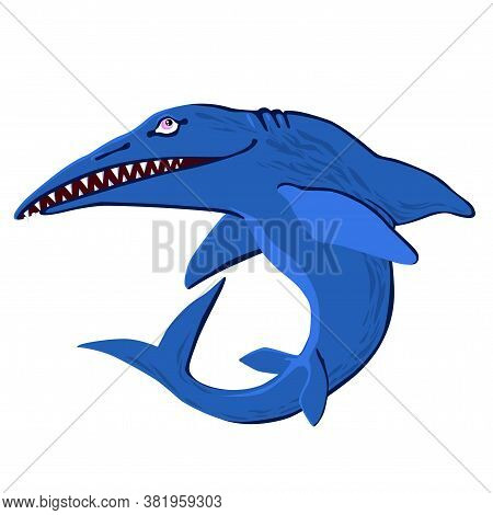 Cute Ichthyosaur Swimming. Dinosaur Life. Vector Illustration Of Prehistoric Character In Flat Carto