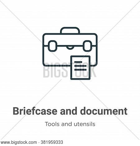 Briefcase and document icon isolated on white background from tools and utensils collection. Briefca