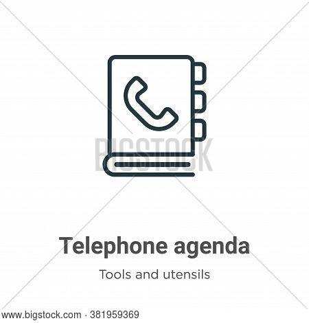 Telephone agenda icon isolated on white background from tools and utensils collection. Telephone age