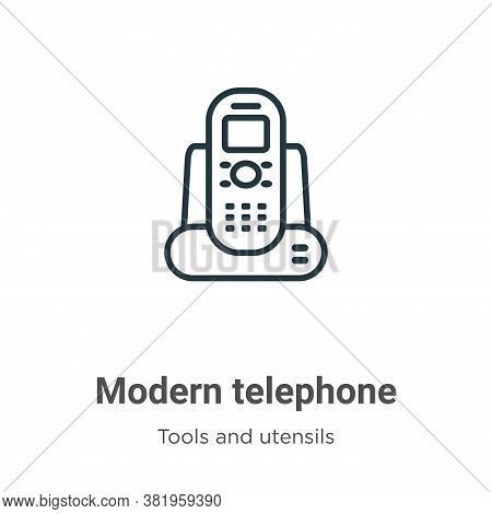 Modern telephone icon isolated on white background from tools and utensils collection. Modern teleph