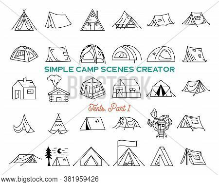 Vintage Hand Drawn Tents Icons Bundle. Simple Line Art Graphics. Camping Houses Symbols. Stock Vecto