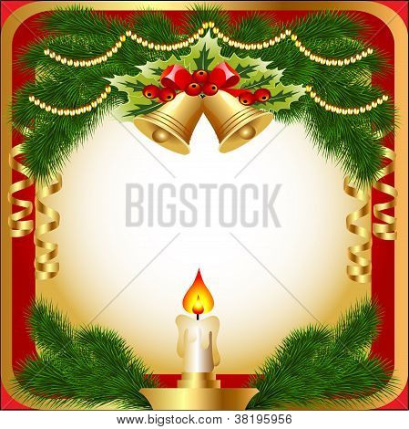 Of The New Year's Background With A Candle Berries And Fir Branches