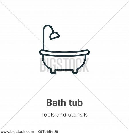 Bath tub icon isolated on white background from tools and utensils collection. Bath tub icon trendy