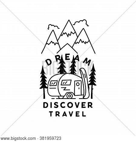 Vintage Simple Camp Logo Design. Outdoor Adventure Line Art Scene, Hiking Landscape. Dream Discover