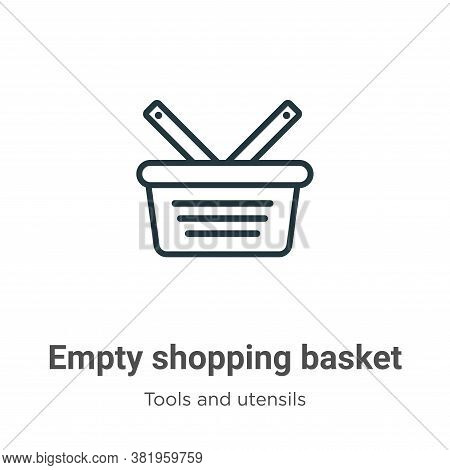 Empty shopping basket icon isolated on white background from tools and utensils collection. Empty sh