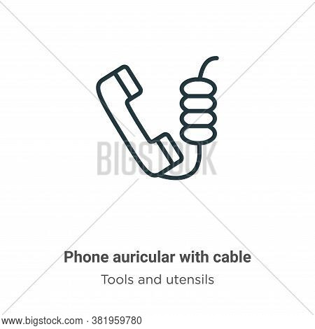 Phone auricular with cable icon isolated on white background from tools and utensils collection. Pho