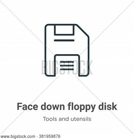 Face Down Floppy Disk Icon From Tools And Utensils Collection Isolated On White Background.