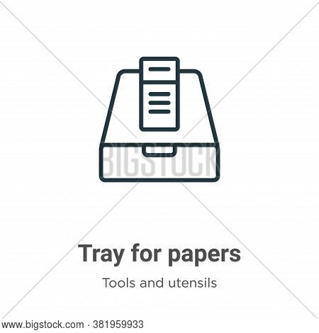Tray for papers icon isolated on white background from tools and utensils collection. Tray for paper