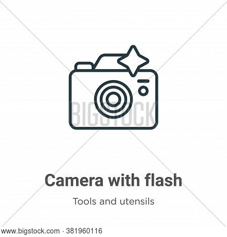 Camera with flash icon isolated on white background from tools and utensils collection. Camera with