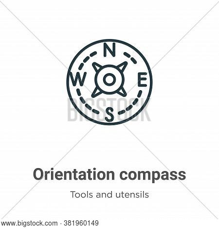 Orientation compass icon isolated on white background from tools and utensils collection. Orientatio
