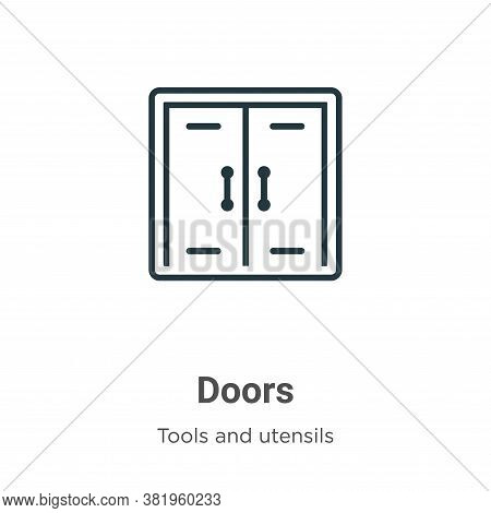 Doors icon isolated on white background from tools and utensils collection. Doors icon trendy and mo