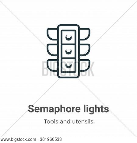 Semaphore lights icon isolated on white background from tools and utensils collection. Semaphore lig