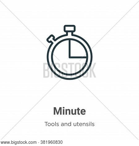 Minute icon isolated on white background from tools and utensils collection. Minute icon trendy and