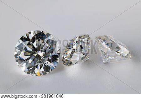 Luxury Big Carat Diamonds On White Background
