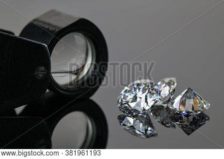 Luxury Diamonds. Precious Gemstones And Jewelry Loupe