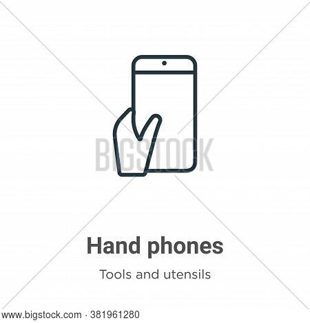 Hand phones icon isolated on white background from tools and utensils collection. Hand phones icon t