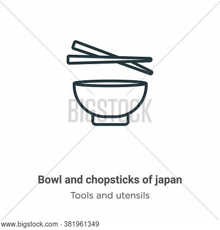 Bowl and chopsticks of japan icon isolated on white background from tools and utensils collection. B