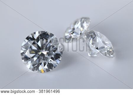 Diamond Gemstone. Precious Loose Diamonds. Round Cut Gem Stone.
