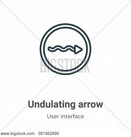 Undulating arrow icon isolated on white background from user interface collection. Undulating arrow