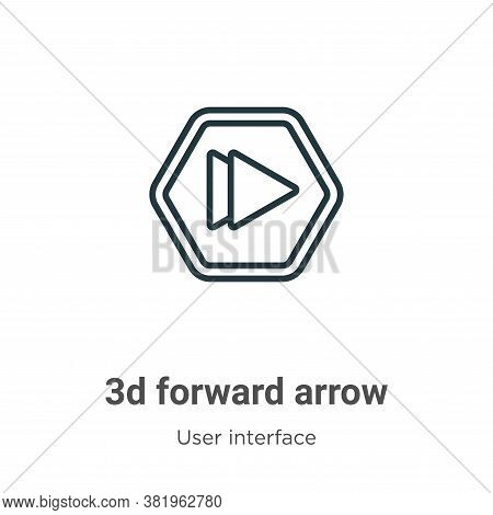3d forward arrow icon isolated on white background from user interface collection. 3d forward arrow