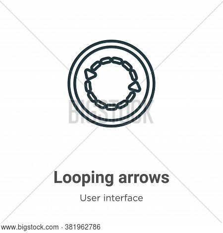 Looping arrows icon isolated on white background from user interface collection. Looping arrows icon