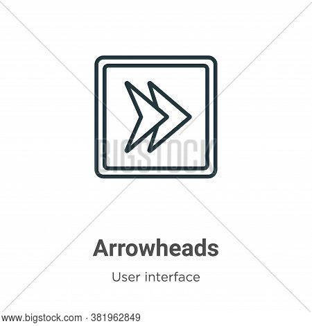 Arrowheads icon isolated on white background from user interface collection. Arrowheads icon trendy