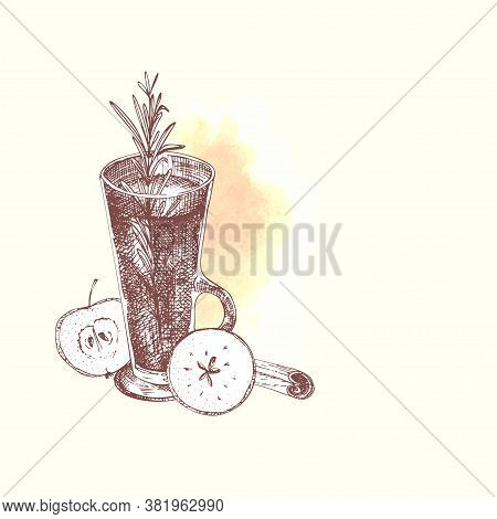 Alcoholic Cocktail Drink Hand Drawn Sketch Art, Watercolor Background Christmas Mulled Red Wine, Xma