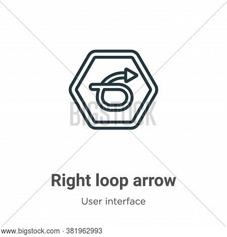 Right loop arrow icon isolated on white background from user interface collection. Right loop arrow