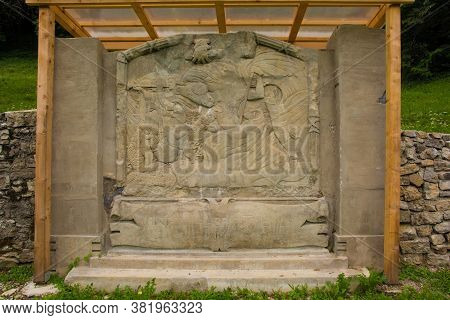 Kamno, Slovenia - July 26 2020. A Replica Of A Memorial Relief At The Former World War One Cemetery