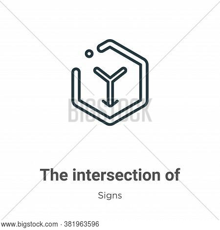 The intersection of symbol icon isolated on white background from signs collection. The intersection