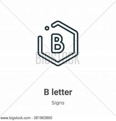 B letter icon isolated on white background from signs collection. B letter icon trendy and modern B