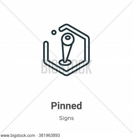 Pinned icon isolated on white background from signs collection. Pinned icon trendy and modern Pinned