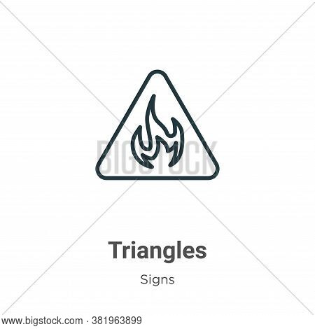Triangles icon isolated on white background from signs collection. Triangles icon trendy and modern