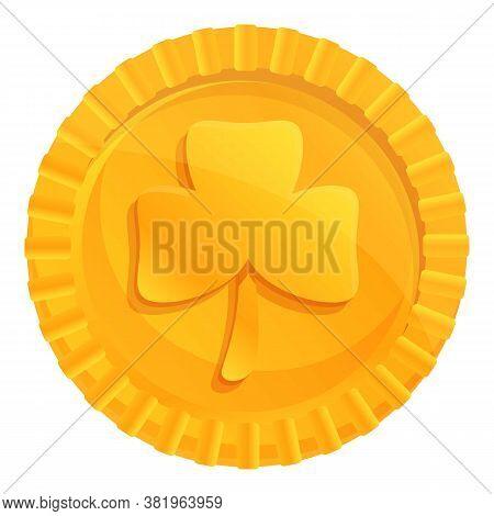 Ireland Gold Lucky Coin Icon. Cartoon Of Ireland Gold Lucky Coin Vector Icon For Web Design Isolated