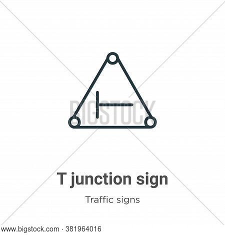 T junction sign icon isolated on white background from traffic signs collection. T junction sign ico